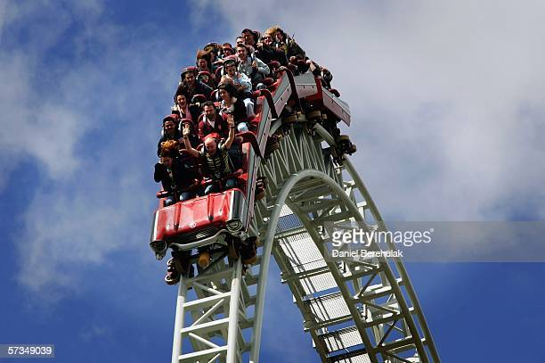 People ride the new Stealth rollercoaster at Thorpe Park on April 17 2006 in Chertsey England Thousands of people flocked to see the new...