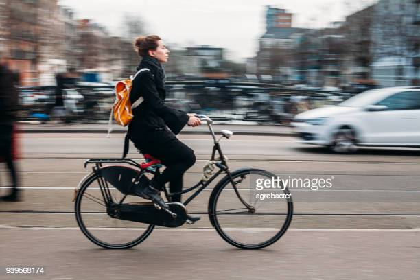 People rides bicycle in Amsterdam