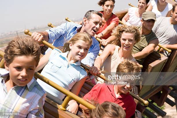 People riding a rollercoaster