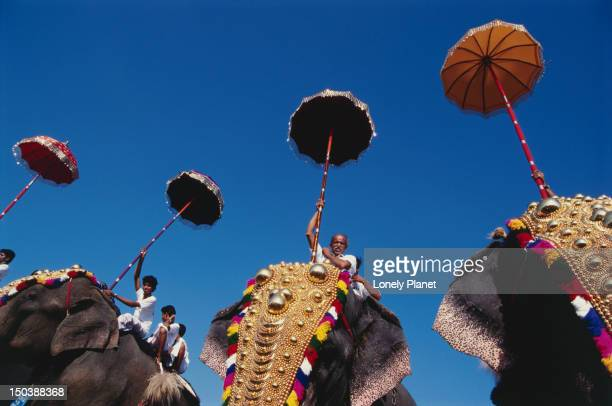 people riding costumed elephants holding unbrellas at elephant festival in ernakulam. - kerala elephants stock pictures, royalty-free photos & images