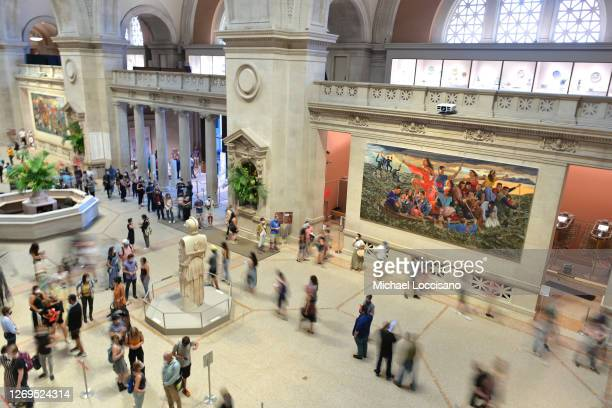 People roam around the entrance on reopening day at The Metropolitan Museum of Art on August 29, 2020 in New York City. Museums and cultural...