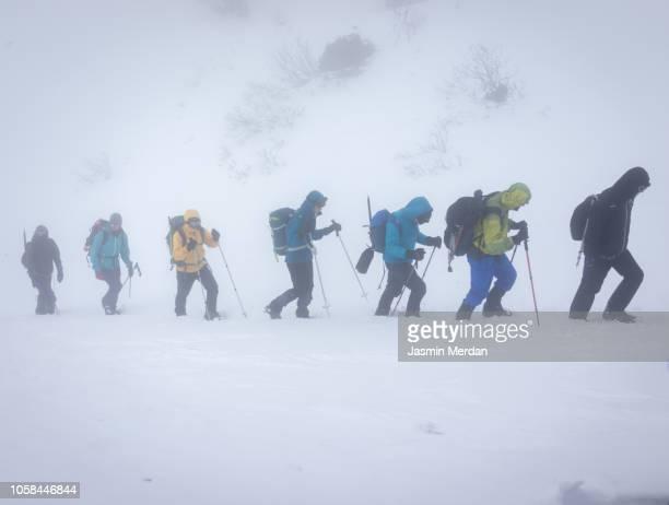 people row walking in mountain snow - jasmin sturm stock-fotos und bilder