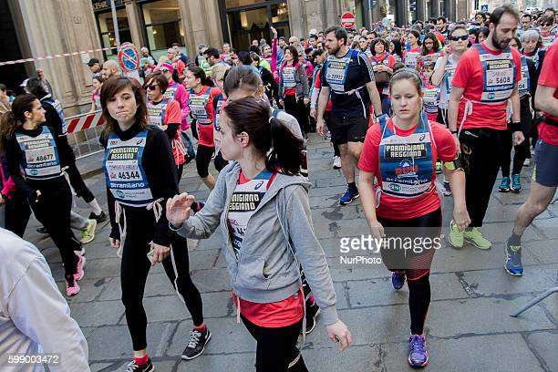 People run and enjoy during 45th edition Stramilano running event in Milan on 20th March 2016 Stramilano is the most famous city race in Italy which...