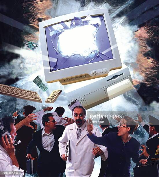 People running from exploding computer (Digital Composite)