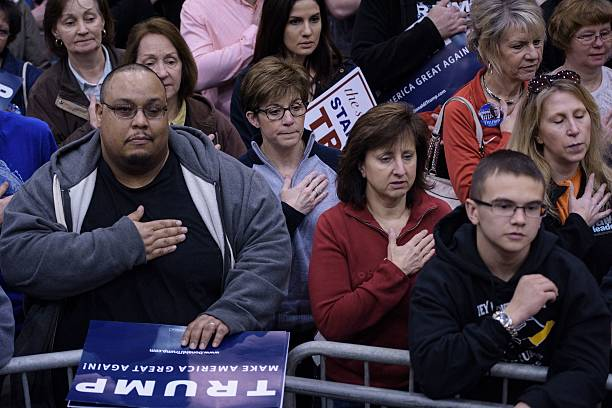 People say the pledge of allegiance before a trump rally at the people say the pledge of allegiance before a trump rally at the international exposition center march 12 2016 in cleveland ohio donald trump is under publicscrutiny Image collections