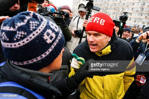 People scuffle during the 'Mothers' anger march' for the release of female political prisoners in Moscow Russia on February 10 2019 Protesters in...