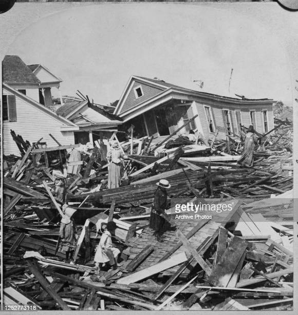 People searching the wreckage for their belongings a few days after the 1900 Galveston hurricane in Texas.