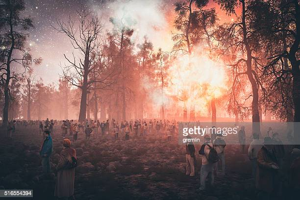 People seeking shelter in the forest, explosion, war
