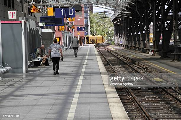 People seen at an empty train station on the third day of strike in Cologne, Germany on May 06, 2015. Train drivers in Germany have begun a week-long...