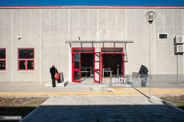 People seen at the entrance door of the bunker room in Lamezia Terme. Italian Minister of Justice Alfonso Bonafede and anti-mafia prosecutor Nicola...