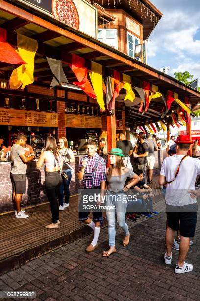 People seen at the festival Oktoberfest 2018 is a Germany beer festival in Blumenau a Brazilian city founded by German immigrants Blumenau Santa...