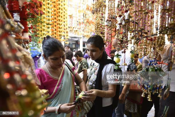 People seen busy shopping on the occasion of Dhanteras a Hindu festival associated with Lakshmi the Goddess of Wealth at Sadar Bazar on October 17...