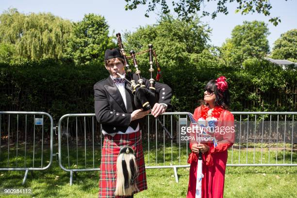 People seen dressed up in traditional outfit on the Royal Wedding day Thewedding of Prince Harry and Meghan Marklewas held on 19 May 2018 inSt...