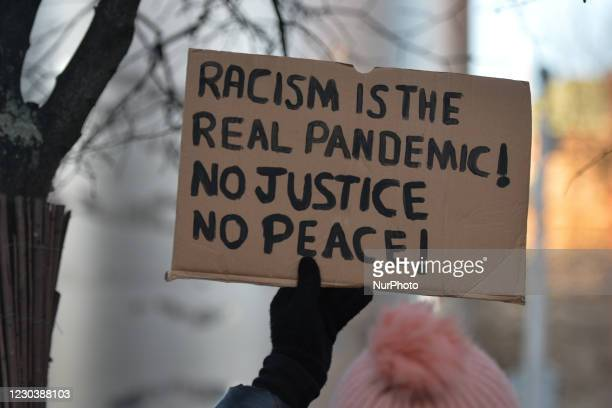 People seen during a candlelit vigil in Dublin city center for George Nkencho. Mr Nkencho was shot multiple times by Gardai outside his home in...