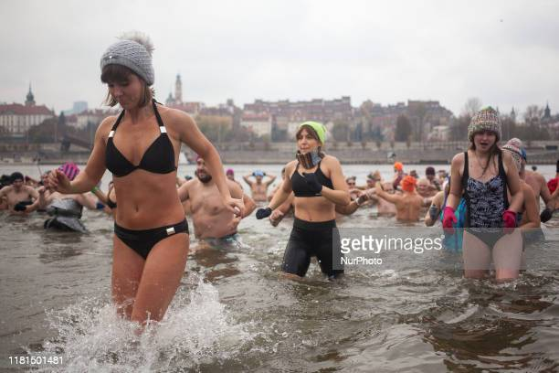 People seen during ice swimming in Warsaw on November 10 2019