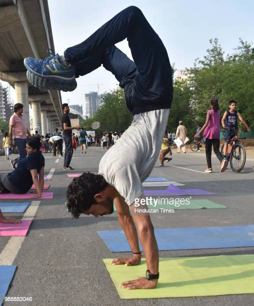 People seen engaged in activities conducted during a Raahgiri Day an event organised by MCG at Sector 55 Golf Course Road in Gurugram India on Sunday...
