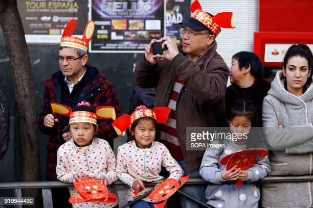 People seen enjoying the chinese parade Thousand of participants take part in the Chinese New Year parade in Madrid to mark the Year of the Dog and...