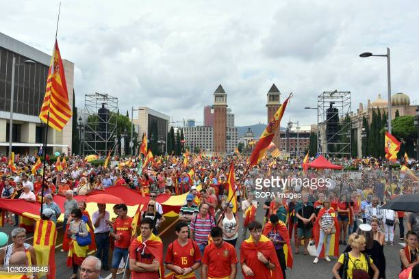People seen holding flags during the protest in favor of the unity of Spain and against the independence of Catalonia Some 2000 people according to...