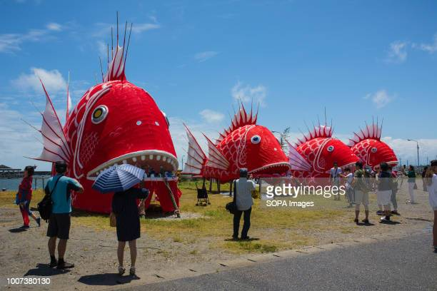 People seen looking at the different sea bream figures during the festival The sea bream or tai maturi festival is a traditional festival in...