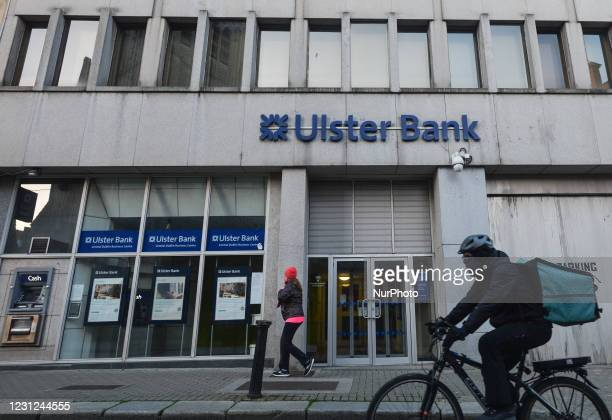 People seen outside the Ulster Bank branch in Dublin center during Level 5 COVID-19 lockdown. Tomorrow, Friday 19 February, NatWest, the British bank...