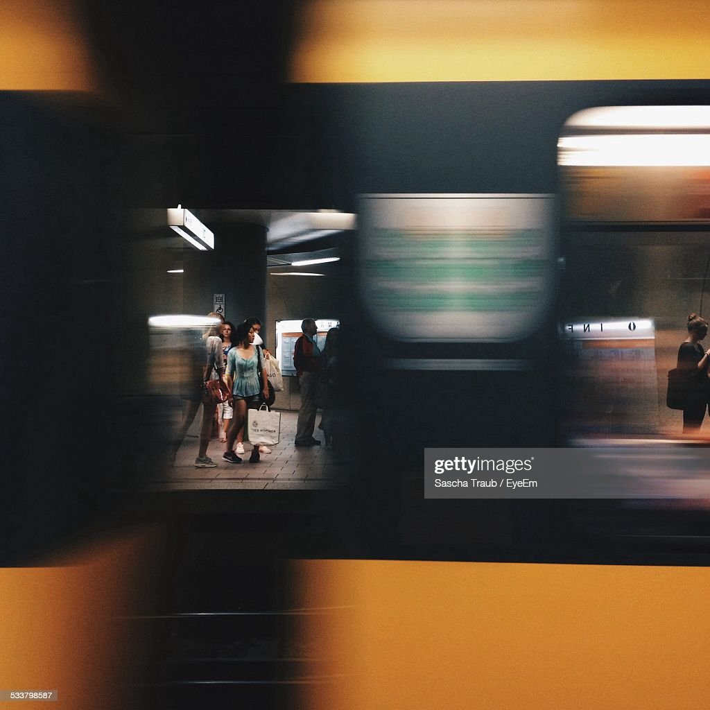 People Seen Through Moving Train : Foto stock