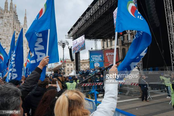 DUOMO MILANO LOMBARDIA ITALY People seen waving flags during the campaign rally Matteo Salvini leader of the populist and right League Party and also...