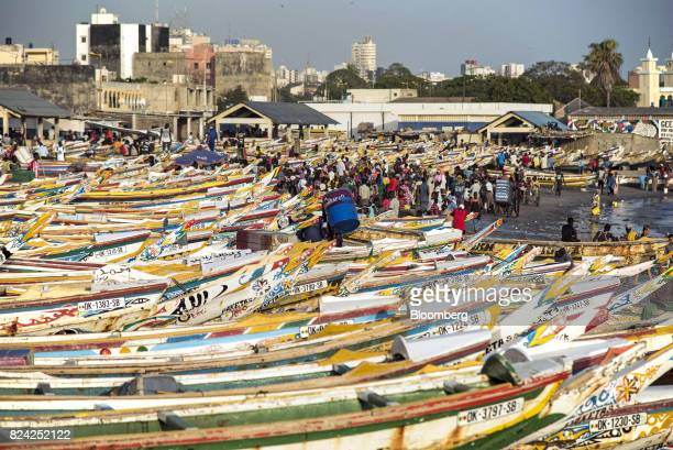 People sell and buy fish among hundreds of painted fishing boats at the Soumbedioune fish market in Dakar Senegal on Friday July 28 2017...