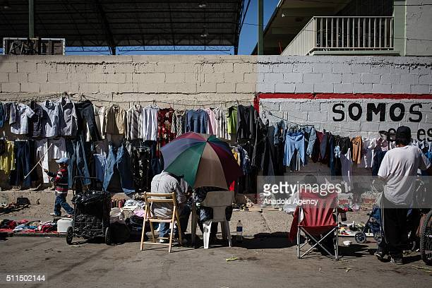 People selling second hand clothes in the streets of Ciudad Juarez Mexico on February 20 2016 In recent years Ciudad Juarez has been an epicenter of...