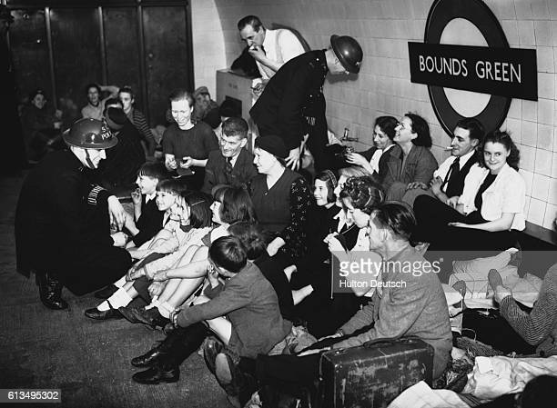 People sheltering from air raids in Bounds Green tube station London 1940