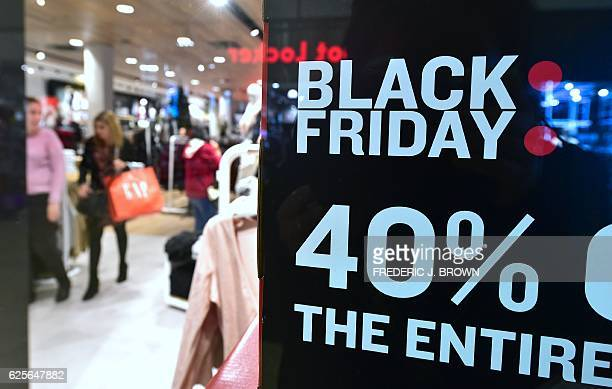 People shop for Black Friday deals in Montebello California on November 24 2016 A survey conducted by Prosper Insights Analytics for the National...