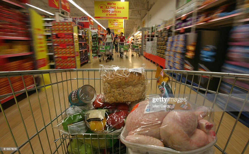 People shop in a supermarket in Bristol on July 15 2008 in Bristol, England. Official figures, released today, show inflation hit a 11-year high at 3.8 percent, way above Government targets of 2 percent. Rising food and fuel costs are blamed and the Bank of England has warned further rises may be on their way.