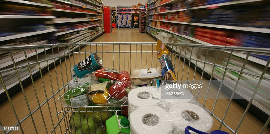 People shop in a supermarket in Bristol on July 15 2008 in Bristol, England. Official figures, released today, show inflation hit a 11-year high at 3.8 percent, way above Government target of 2 percent. Rising food and fuel costs are blamed and the Bank of England has warned further rises may be on their way.