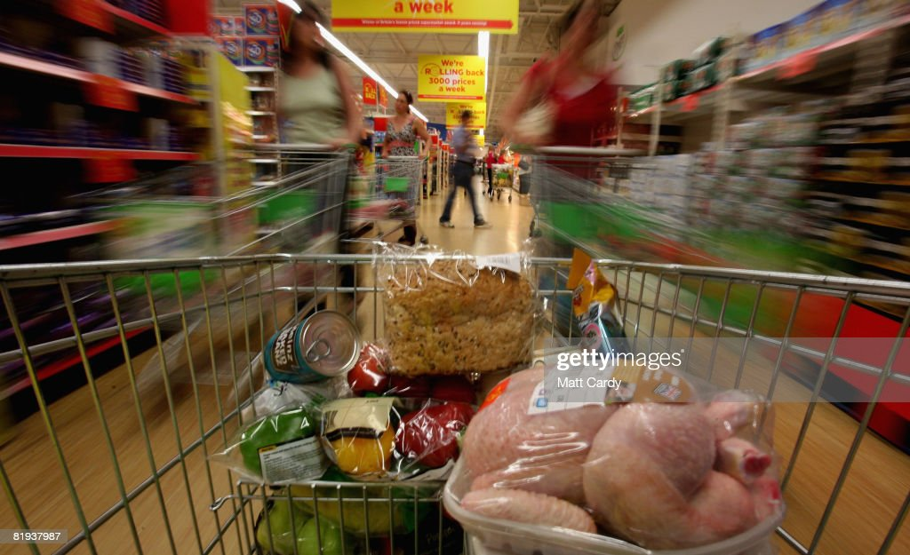 People shop in a supermarket on July 15 2008 in Bristol, England. Official figures released today show inflation hit a 11-year high at 3.8 percent , way above Government target of 2 percent. Rising food and fuel costs are blamed and the Bank of England has warned further rises may be on their way.