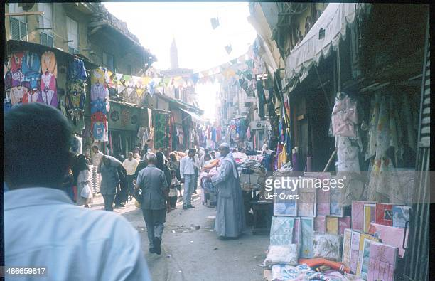 People shop in the market in Cairo Egypt the market is also known as a souk