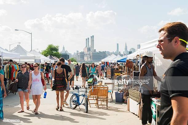 NYC People Shopping at Brooklyn Flea Market in Summer