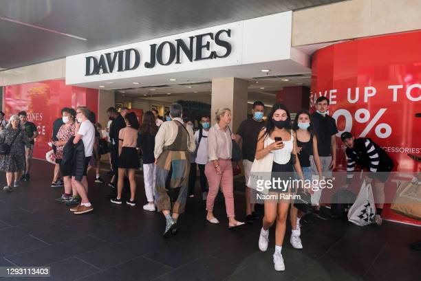 People shopping at David Jones during the Boxing Day sales on December 26, 2020 in Melbourne, Australia. Australians celebrate Boxing Day with many...