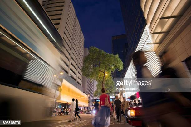 People shopping at luxury Canton Road in Hong Kong