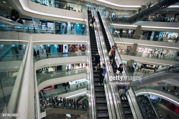 People shopping at Luxury shopping mall in Hong Kong
