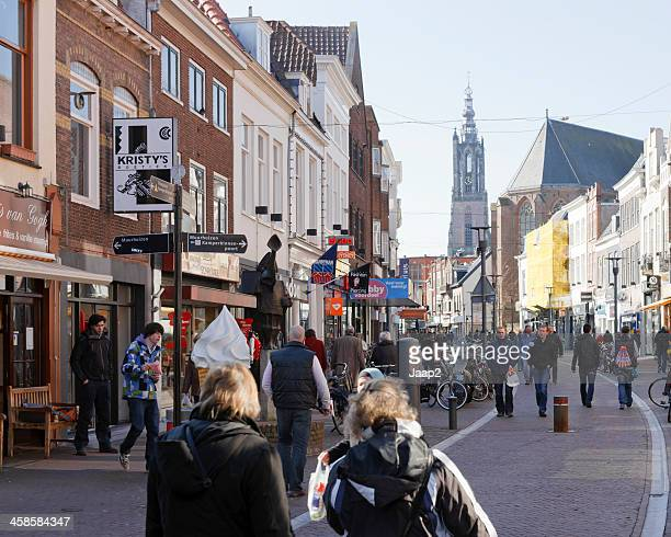 people shopping downtown amersfoort - amersfoort netherlands stock photos and pictures