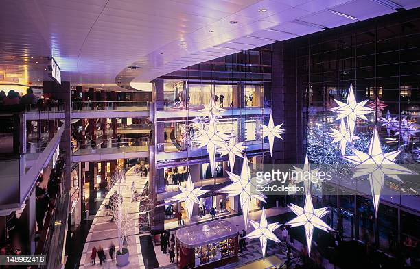 People shopping for Christmas at mall in New York