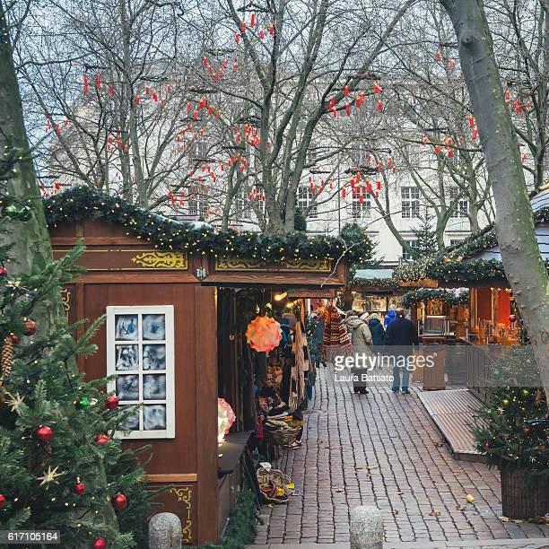 People shopping in the Christmas market, Hamburg, Germany