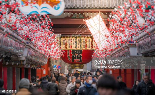 People shopping on Nakamise Dore (Shopping Street in front of Sensoji Temple)