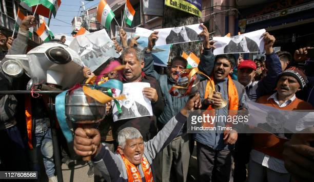 People shout patriotic slogans and Indians airstrike on the JaisheMohammeds biggest camp in Pakistans Balakot town on February 26 2019 in Jammu India
