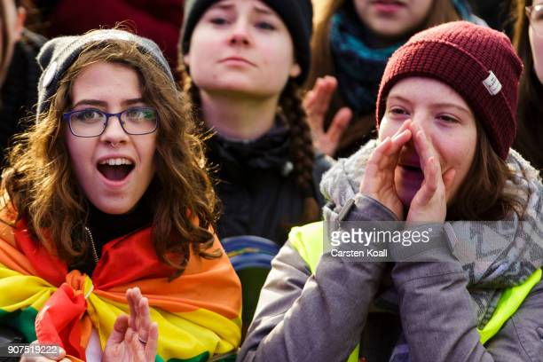 People shout slogans during a rally to demonstrate against the agroindustry on January 20 2018 in Berlin Germany Marchers whose protest is coinciding...