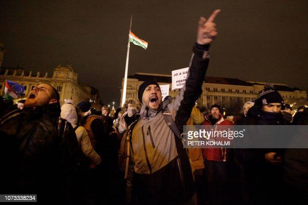People shout slogans outside the parliament building in Budapest on December 14 2018 during a protest two days two days after Hungary's Prime...