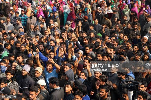 People shouting profreedom slogans during the funeral procession of a local militant Waseem Ahmad on Tuesday November 07 2017 who was killed in an...