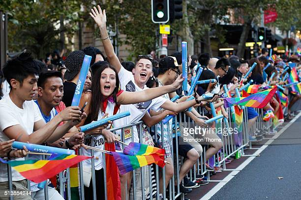 People show their support during the 2016 Sydney Gay Lesbian Mardi Gras Parade on March 5 2016 in Sydney Australia The Sydney Mardi Gras parade began...