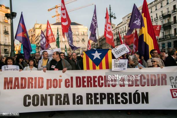 People showing solidarity with Catalonia Independence process demanding freedom for Catalan leaders Jordi Sanchez and Jordi Cuixart who are in jail...