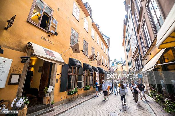 People sightseeing and shopping in Gamla stan, Stockholm
