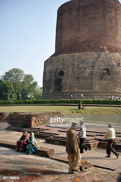 People sightseeing the Dhamekh Stupa at Sarnath The Dhamek Stupa was built in 500 CE by king Ashoka along with several other monuments to commemorate...